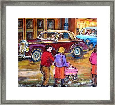 Vintage Classic 1946 Car Painting  Downtown Street Montreal Canadian Painting Carole Spandau         Framed Print by Carole Spandau
