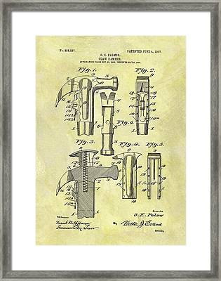 Vintage Claw Hammer Patent Framed Print by Dan Sproul