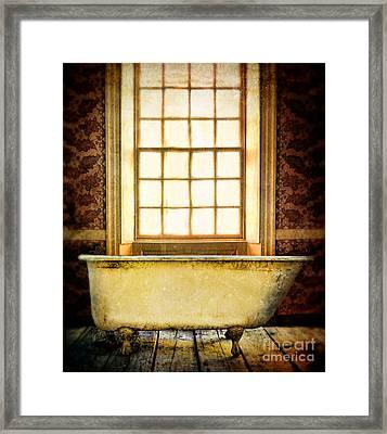 Vintage Clawfoot Bathtub By Window Framed Print by Jill Battaglia