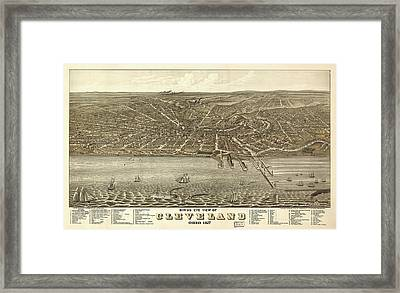 Vintage Cleveland Ohio Map Framed Print by Mountain Dreams