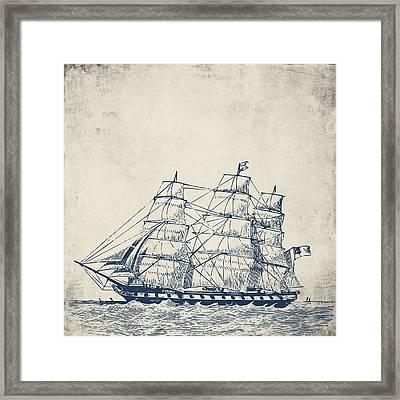 Vintage Clipper Ship V1 Framed Print by Brandi Fitzgerald