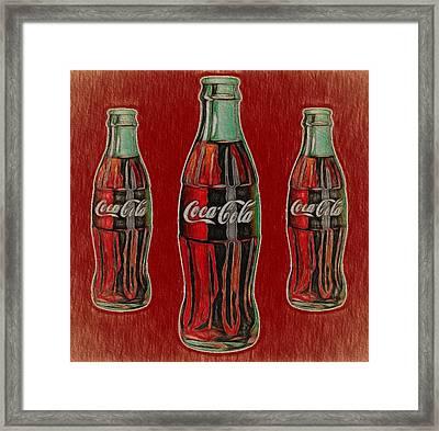 Vintage Coca Cola Bottles Framed Print