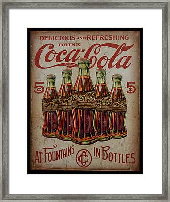 Framed Print featuring the photograph vintage Coca Cola sign by Chris Flees