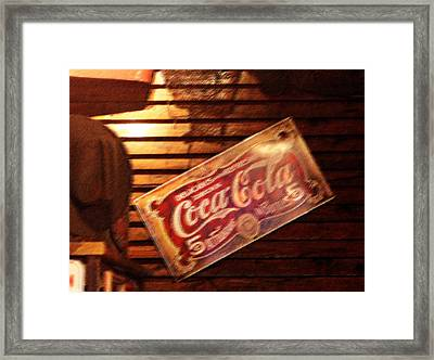 Vintage Coca Cola Sign Framed Print by Linda Phelps