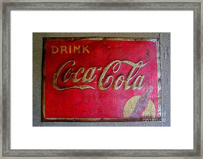 Vintage Coca-cola Sign Framed Print by Mary Deal