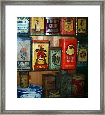 Vintage Cocoa Containers Framed Print by Turtle Caps