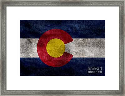 Vintage Colorado Flag Framed Print by Jon Neidert