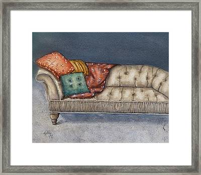Framed Print featuring the painting Vintage Comfy Couch by Kelly Mills
