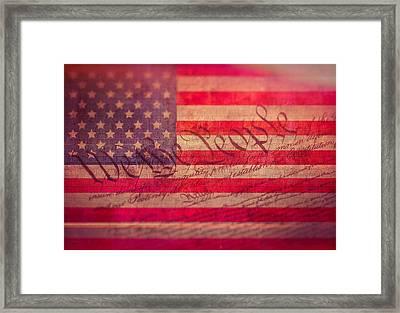 Vintage Constitution American Flag Framed Print