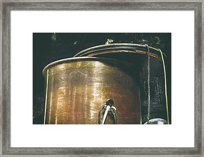 Vintage Copper Wine Making Equipment Framed Print by Georgia Fowler