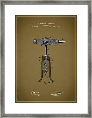 Vintage Corkscrew Design Framed Print