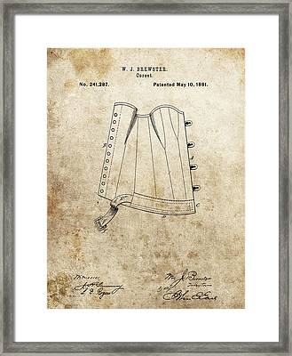 Vintage Corset Patent Framed Print by Dan Sproul