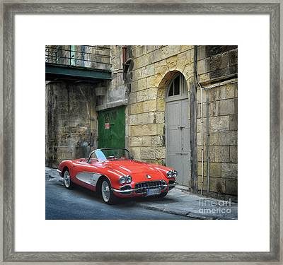 Vintage Corvette In Valletta Framed Print by Stephan Grixti