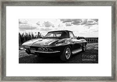 Vintage Corvette Sting Ray Black And White Framed Print by Edward Fielding