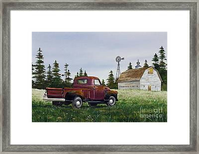 Framed Print featuring the painting Vintage Country Pickup by James Williamson