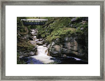 Vintage Covered Bridge And Waterfall Framed Print