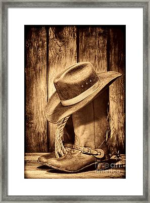 Vintage Cowboy Boots Framed Print by American West Legend By Olivier Le Queinec