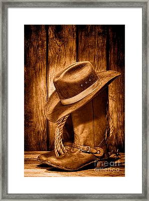 Vintage Cowboy Boots - Sepia Framed Print by Olivier Le Queinec