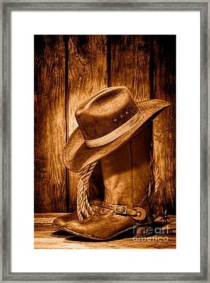 Vintage Cowboy Boots - Sepia Framed Print