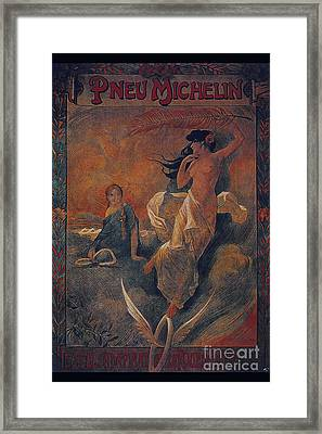 Vintage Cycle Poster Pneu Michelin Framed Print by R Muirhead Art