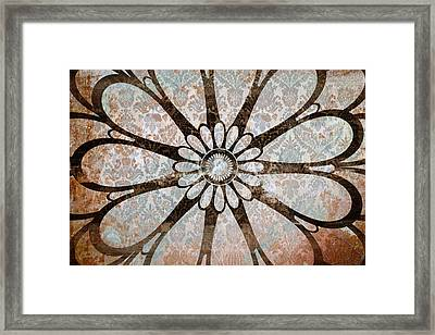 Vintage Damask Floral Abstract Framed Print by Frank Tschakert