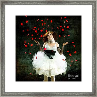 Vintage Dancer Series Raining Rose Petals  Framed Print