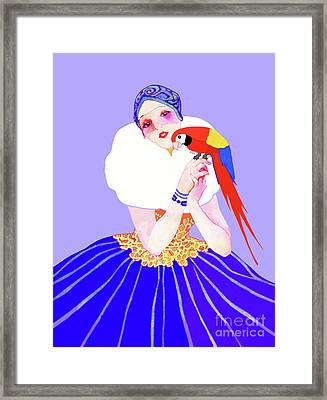 Framed Print featuring the painting Vintage Dancer With Parrot by Marian Cates