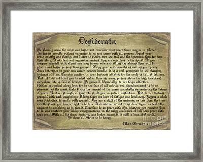 Vintage Desiderata Framed Print