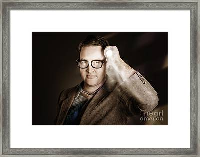 Vintage Detective Businessman Holding Search Light Framed Print by Jorgo Photography - Wall Art Gallery