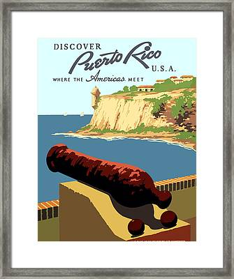 Vintage Discover Puerto Rico Wpa Travel Framed Print