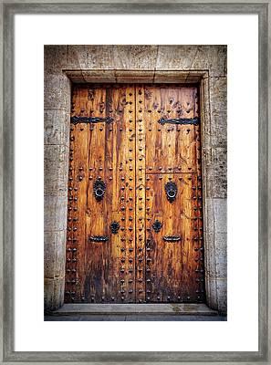 Vintage Door In Valencia Spain  Framed Print