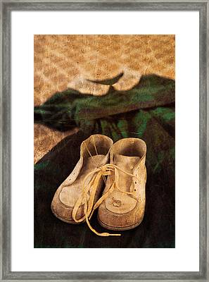 Vintage Dress And Baby Shoes Framed Print