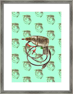 Framed Print featuring the photograph Vintage Drill Motor Green Trigger Pattern by YoPedro