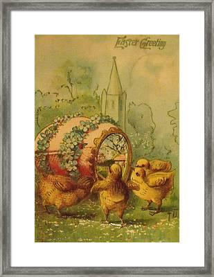 Vintage Easter Greeting Framed Print by Anna Villarreal Garbis