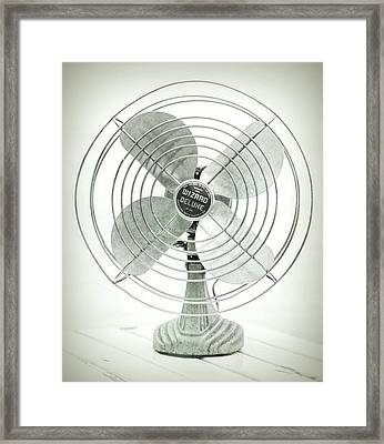 Vintage Electric Fan Black And White Framed Print by Terry DeLuco