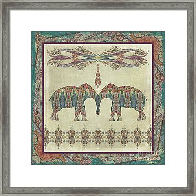 Framed Print featuring the painting Vintage Elephants Kashmir Paisley Shawl Pattern Artwork by Audrey Jeanne Roberts
