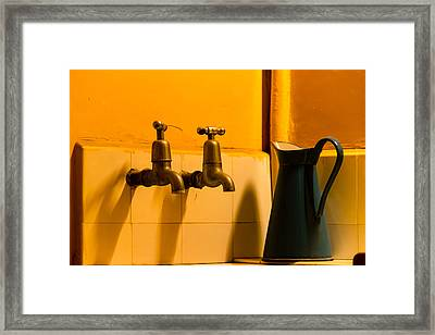 Vintage English Tap Water With Watering Can Framed Print