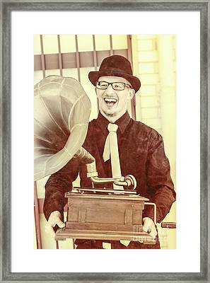 Vintage Entertainment Man Playing Golden Oldies Framed Print by Jorgo Photography - Wall Art Gallery