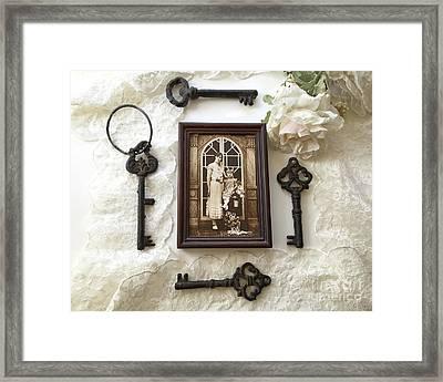 Vintage Era Sepia 1920's Family Heirloom Mother Daughter Print-vintage Antique Black Keys Flatlay Framed Print