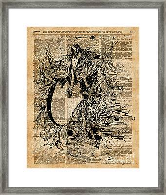 Vintage Fairies Magic Illustration Antique Ink Artwork Dictionary Book Page Art  Framed Print by Jacob Kuch