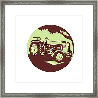 Vintage Farm Tractor Circle Woodcut Framed Print