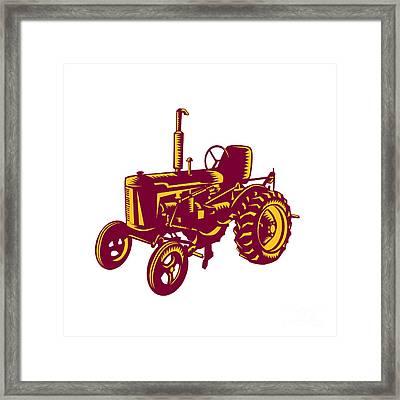 Vintage Farm Tractor Woodcut Framed Print by Aloysius Patrimonio