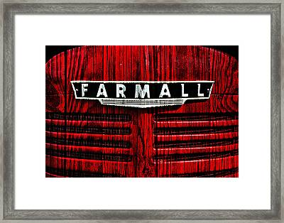 Vintage Farmall Red Tractor With Wood Grain Framed Print