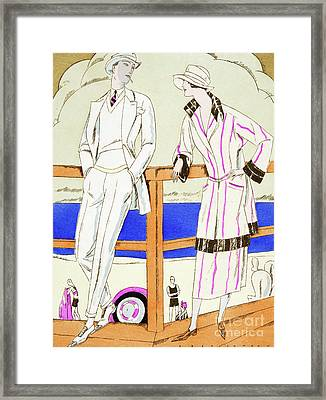 Vintage Fashion Plate From The Twenties Depicting Couple At The Beach Framed Print