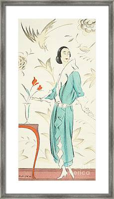 Vintage Fashion Plate From The Twenties Framed Print