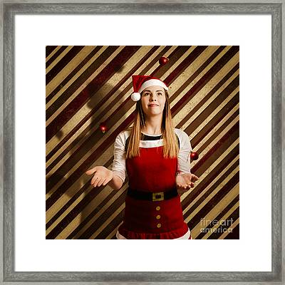Vintage Female Elf Juggling Christmas Decorations Framed Print