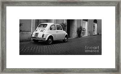 Vintage Fiat 500 Rome Italy Black And White Framed Print by Edward Fielding