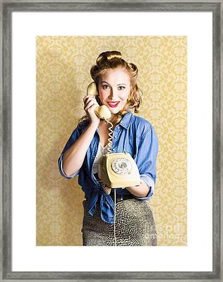 Vintage Fifties Telephone Operator Holding Phone Framed Print