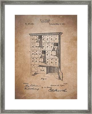 Vintage Filing Cabinet Patent Framed Print by Dan Sproul