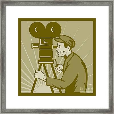 Vintage Film Camera Director Framed Print by Aloysius Patrimonio